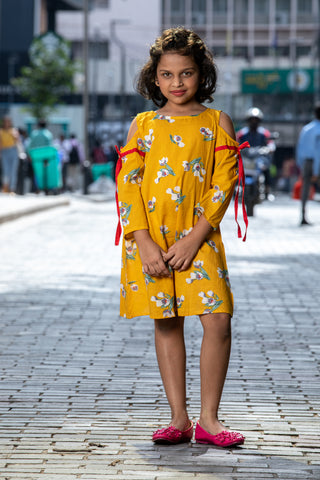 Bright Yellow Cold Shoulder Dress