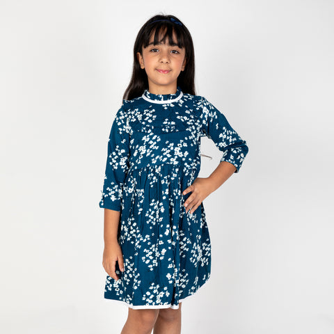 Blue base floral printed dress