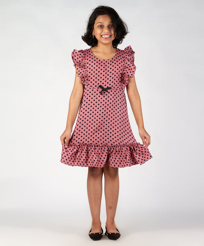 Blush base polka dot printed ruffle dress with bow