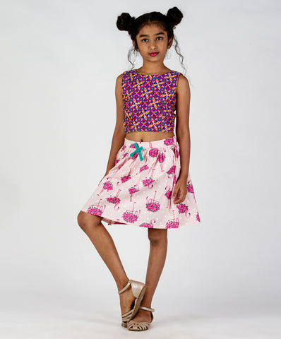 Baby Pink base flamingo printed skirt with bow