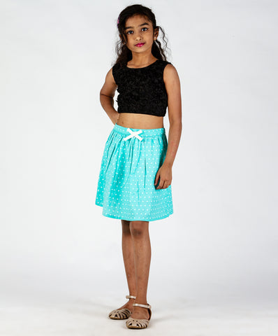 Aqua blue base polka dot printed skirt with bow