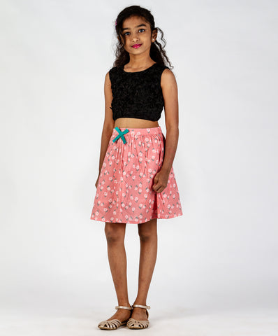Baby Pink base floral printed skirt with bow
