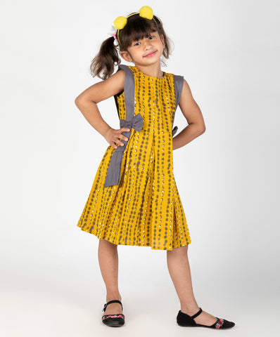 Belted Bow Dress - Yellow
