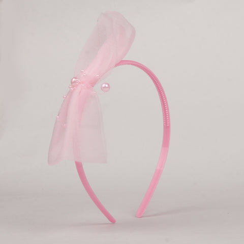 Big Bow with pearls Hairband - Pink
