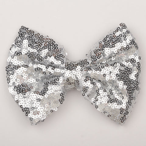 Big Sequin Bow Clip - Silver