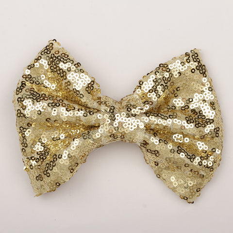 Big Sequin Bow Clip - Golden