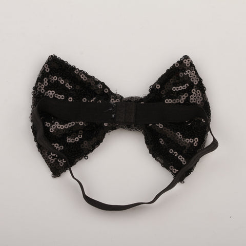 Big Sequin Bow Headband - Black