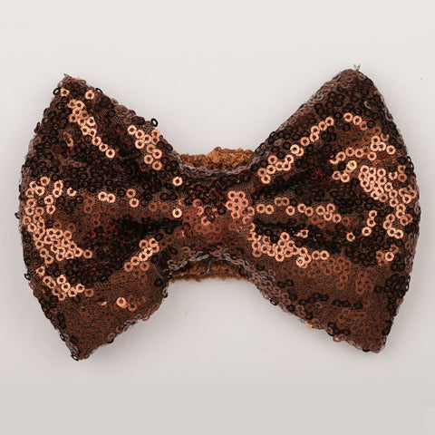 Big Sequin Bow Crochet Headband - Brown