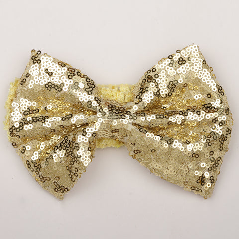 Big Sequin Bow Crochet Headband - Golden
