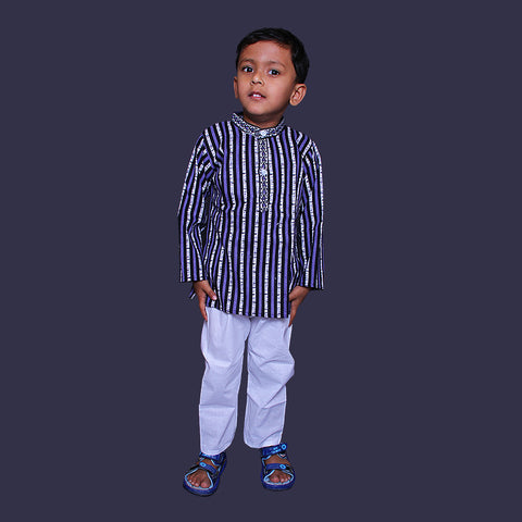 Big Checks Blue Kurta Pajama
