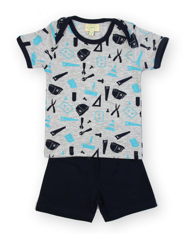Cutting tools printed t shirt with navy solid shorts