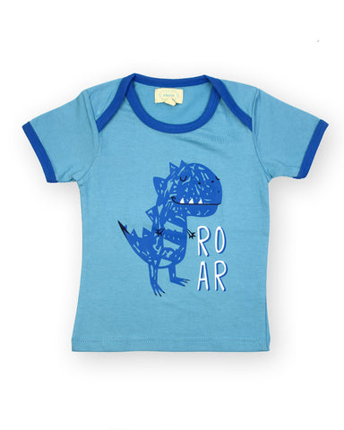 Blue base dinasour chest printed tshirt
