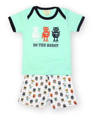 Green base robot chest printed tshirt with aop shorts