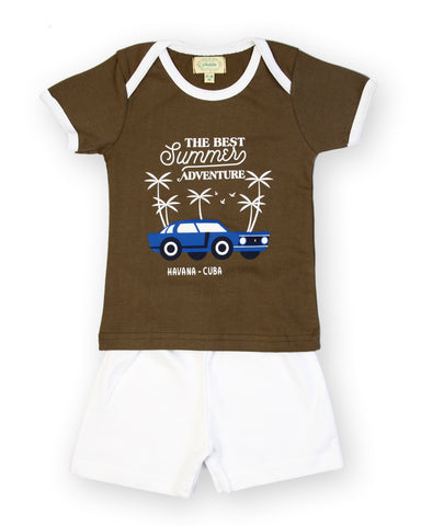 Green base summer adventure printed tshirt with solid white shorts