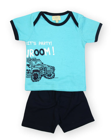 Blue base party printed tshirt with solid navy shorts
