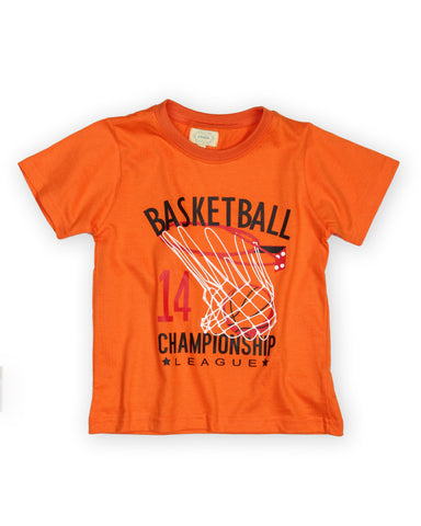 Basketball printed boys t shirt - Orange