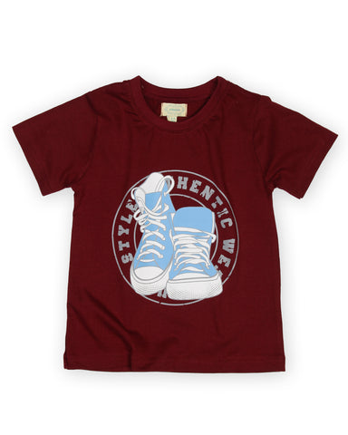 Authentic shoe printed boys t shirt