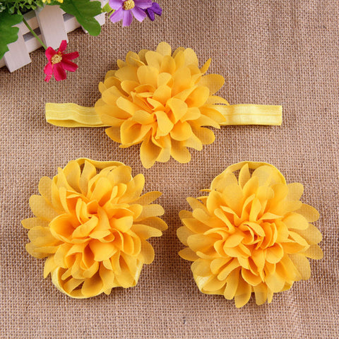 Full Bloom barefoot sandals and headband set - Yellow