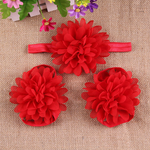 Full Bloom barefoot sandals and headband set - Red