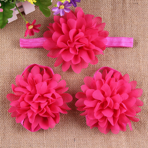 Full Bloom barefoot sandals and headband set - Fuchsia