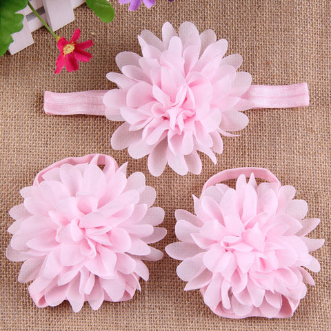 Full Bloom barefoot sandals and headband set - Baby Pink