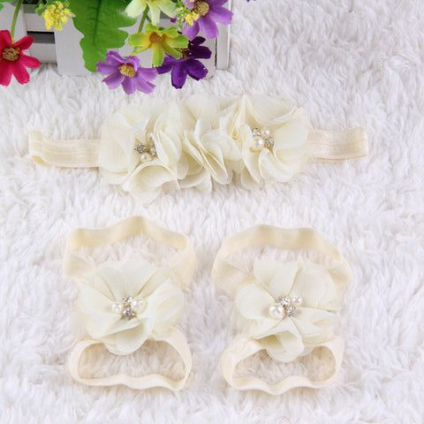 Crystal Flower Shoe Headband Combo-off white