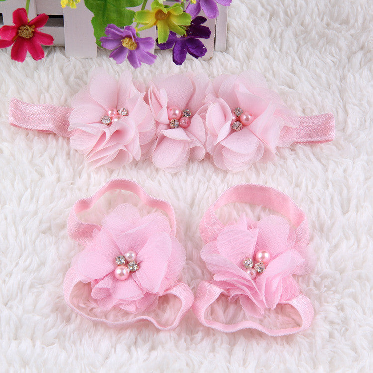 Crystal Flower Shoe Headband Combo- Baby Pink