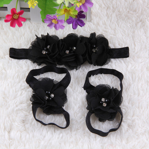 Crystal Flower Shoe Headband Combo- black