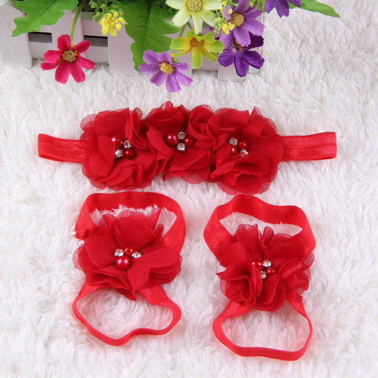 Crystal Flower Shoe Headband Combo- Red