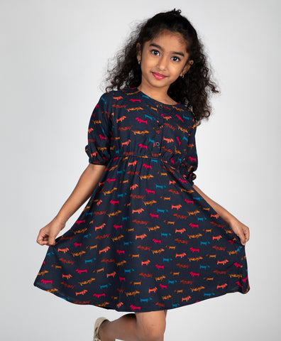 Doggie Print Front Button Dress