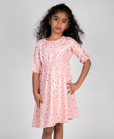Heart Printed Front Button Dress