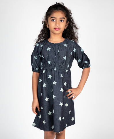 Star Printed Front Button Dress