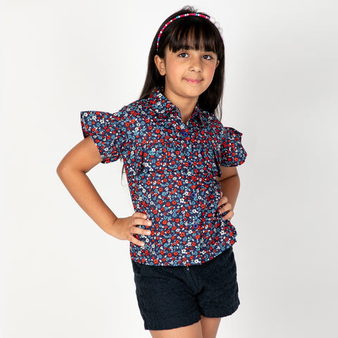 Navy Base Floral printed ruffle top