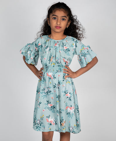 Rabbit Print Smocking Dress