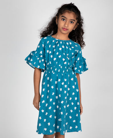 Cat Print Smocking Dress
