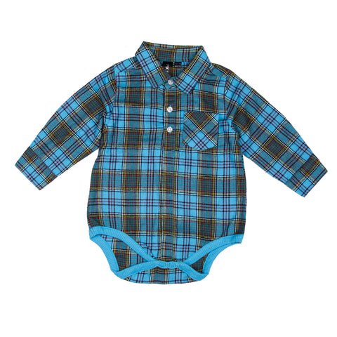 Boys Woven Romper - Blue Checks