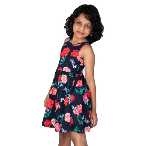 Big Flower Printed Sleeveless frock
