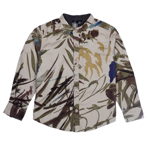 Brown AOP Boys Shirt