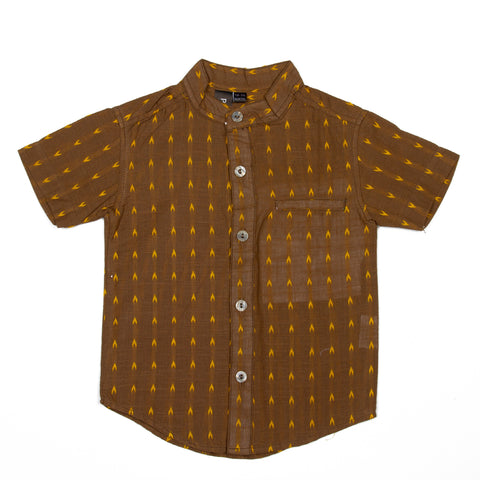 Brown base dobby effect handloom shirt