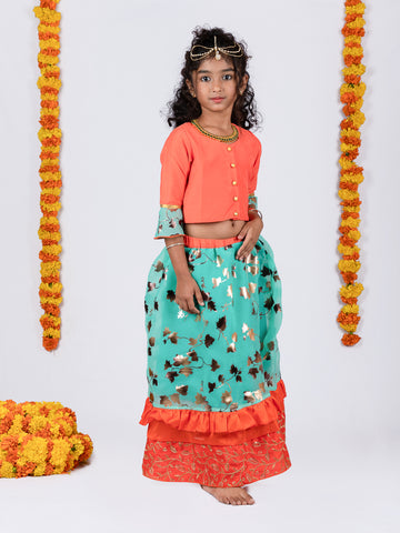 Organza Lehenga and Buttoned Top Set