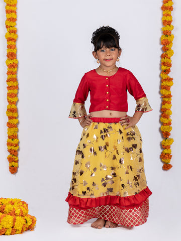 Organza Lehenga and Buttoned Top Set - Red & Yellow