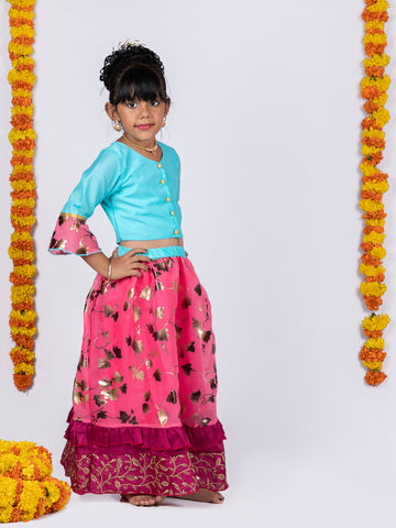 Organza Lehenga and Buttoned Top Set - Blue & Pink