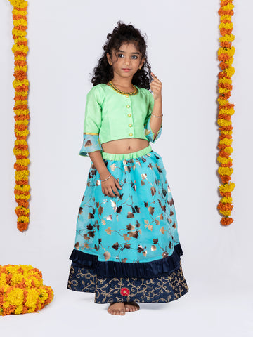 Organza Lehenga and Buttoned Top Set - Green & Blue