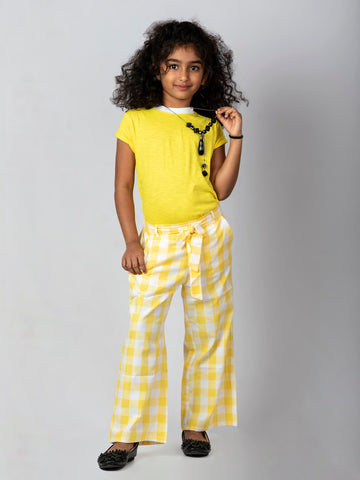 Checkered Culottes with a Yellow top