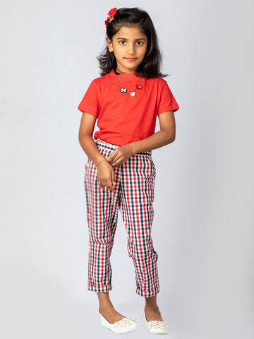 Red White Chinos with solid Red top
