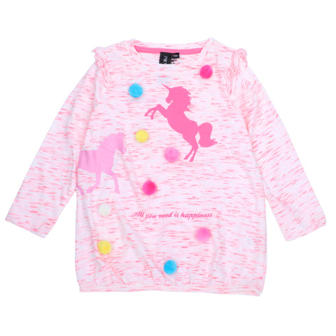 Unicorn Tshirt with POM POM Lace
