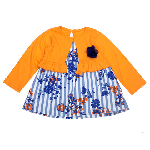 Blue stripe Flower printed frock with Shrug