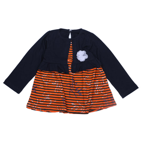 Black Stripe Printed with Shrug Frock