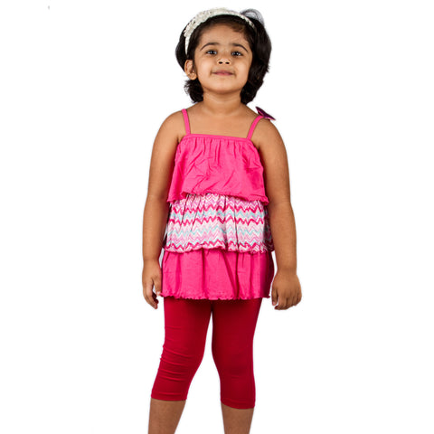 Fuschia ruffle top with legging