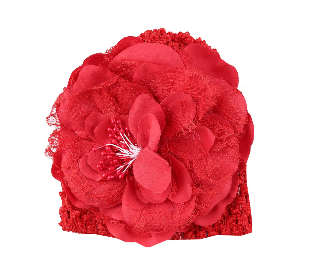 Red Peony flower crochet baby cap (0-6 months)